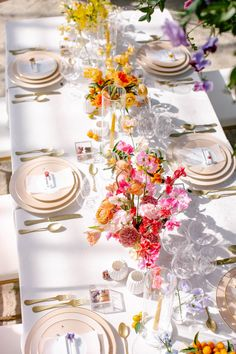 Rainbow Wedding Inspiration at The Jam Event Pink Table Settings, Romantic Table Setting, Elegant Table Settings, Wedding Table Settings, Brunch Table Setting, Wedding Table Linens, Wedding Table Flowers, Wedding Reception Tables, Wedding Table Centerpieces