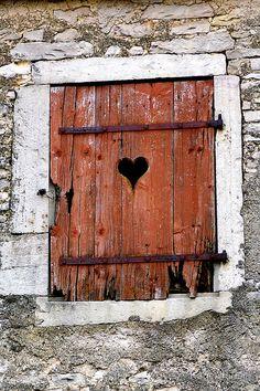 heart shaped dijon france antique rustic brick cement wall broken love  by Kane Horwill