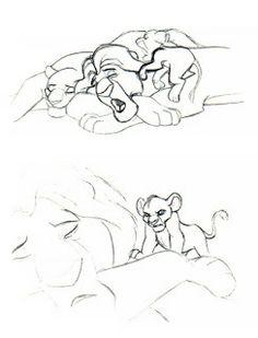© Walt Disney Pictures © Buena Vista Distribution Young Simba by Mark Henn. Disney Character Sketches, Disney Sketches, Disney Drawings, Cartoon Drawings, Animal Drawings, Pencil Drawings, The Lion King 1994, Lion King Art, Disney Concept Art