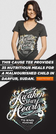 Ladies! This fashionable tee provides 35 nutritious meals for a malnourished child in Darfur, Sudan. Purchase your tee here: http://svnly.org/PinLink