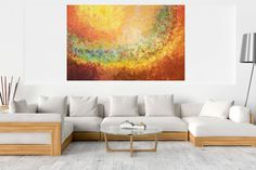 The sigh of the Earth - XXL palette knife abstract - Ivana Olbricht Abstract Landscape, Abstract Art, Palette Knife Painting, Golden Color, Ivana, Wooden Frames, Paint Colors, Original Paintings, Canvas Art