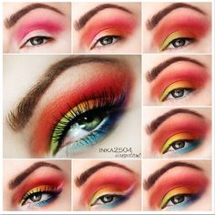 Tropical eye makeup #tutorial #maquiagem #vermelha #evatornadoblog Тропический макияж - урок