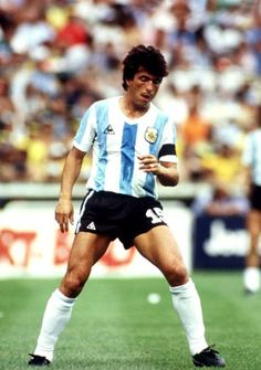 Italy 2 Argentina 1 in 1982 at Sarria Stadium, Barcelona. Daniel Passarella turns away after making it in Round Group C at the World Cup Finals. Football Uniforms, Adidas Football, Football Soccer, Football Players, Soccer Kits, Football Kits, Argentina Soccer Team, Fifa, Association Football