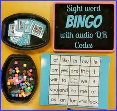 Audio QR Codes: Sight Word Bingo - Technology In Early Childhood Sight Word Bingo, Sight Word Centers, Sight Word Activities, Sight Words, Math Activities, Kindergarten Language Arts, Kindergarten Reading, Kids Reading, Teaching Tools