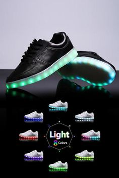 Mens LED Light-up Shoes  Black sneaker with color changing lights for  glowing a22923a8aa9b