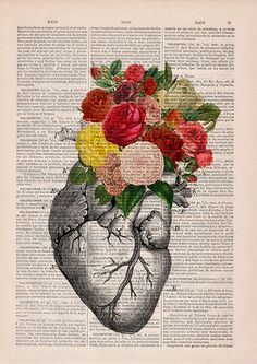 Springtime Heart Nature Inspired art collage printed on real vintage dictionary book page. This beautiful upcycled book print is a fun and affordable way to give your house a brand new fresh look. We print our original designs on upcycled antique book pages to give them a new life, so the