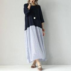 Women mixed color stripe stitching loose pullover cotton linen dress - Free size