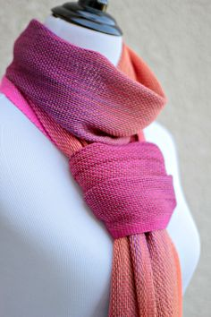 Hand woven scarf, pashmina in neon pink, orange, fuchsia and purple colors…