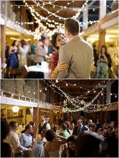 DIY Barn Weddings. Love the lights!