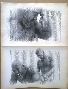 Gay erotic poster/hairy muscular mens love/Printing double pages antique book    #handmade #sexy