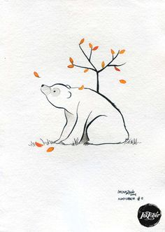 #INKtober day 5 Le ours  Original artwork ink on handmade paper by movezerb