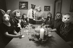 Image via We Heart It https://weheartit.com/entry/132229442/via/23099210 #animalface #animalhead #animals #art #b&w #blackandwhite #couple #creepy #dinner #family #friends #photography #weird