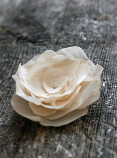 Cream magnolia flower brooch