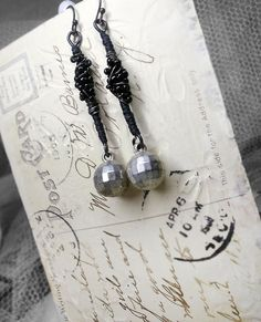 Rustic Assemblage Earrings - Vintage Bead & Wire Earring - Silver Disco Ball Charms, Beaded Wire Wrapping over Waxed Thread Wire Stick Links