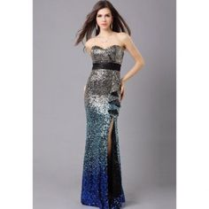 Cheap Wholesale Charming Sweetheart Neck Gradient Sequins Ruffles Side Slit Mermaid Evening Dress (AS THE PICTURE,L) At Price 72.12 - DressLily.com