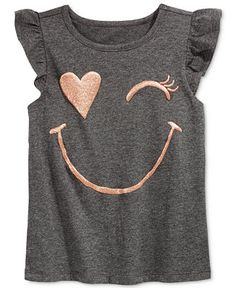 Epic Threads Little Girls' Mix and Match Wink Face Flutter-Sleeve T-Shirt, Only at Macy's - Girls - Kids & Baby - Macy's Shirts For Girls, Kids Shirts, Diy Fashion, Fashion Outfits, Cute Shirts, Diy Clothes, Printed Shirts, Little Girls, Kids Outfits