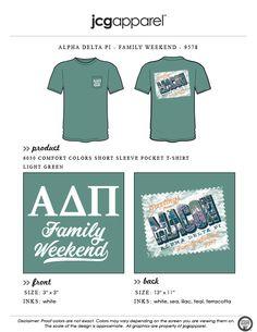 JCG Apparel : Custom Printed Apparel :  Alpha Delta Pi Family Weekend T-Shirt #alphadeltapi #adpi #familyweekend #greetings