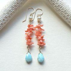 Larimar Dangle Earrings Coral Blue Earrings by BellaAnelaJewelry Coral Jewelry, Wire Jewelry, Jewelry Crafts, Beaded Jewelry, Jewelery, Jewellery Box, Blue Earrings, Gemstone Earrings, Beaded Earrings