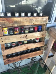 Hand made from pallet wood. Rustic spice rack.