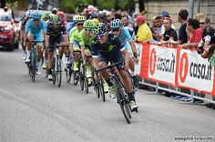 Andrey Amador leads the GC group on stage 13 of the Giro. His hard work over the day and previous days meant he took over the race lead that evening.