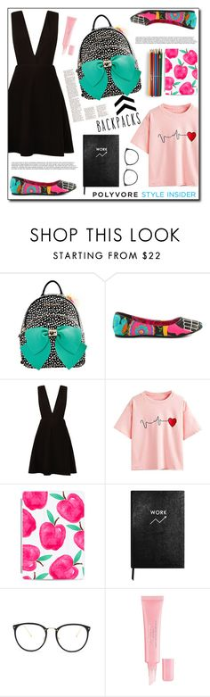 """Rule School: Cool Backpacks"" by dorinela-hamamci on Polyvore featuring Betsey Johnson, Iron Fist, New Look, WithChic, Casetify, Sloane Stationery, Linda Farrow and Christian Dior"