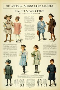 1911 Article Edwardian Fashion Children School Clothes Girls Dresses Accessories Female A and Bs School Girl Outfit, School Outfits, Kids Outfits, Girls School, School Life, Edwardian Era, Edwardian Fashion, Vintage Fashion, Victorian