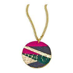 Holy Harlot Magenta Snakeskin Marant Medallion Necklace ($145) ❤ liked on Polyvore