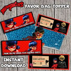 Miraculous Ladybug Birthday Favor Bag Topper  by DottyDigitalParty