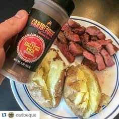 """#Repost @caribeque  repost via @instarepost20 from @codystarkfit Steak & Potatoes with some @caribeque #LIFEISGOOD  #Caribeque 10% 