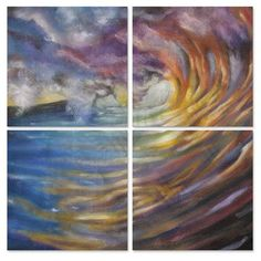 All My Walls Fireworks by Olivier Longuet 4 Piece Original Painting Set Size: