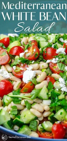 Salad recipes 342062534201953253 - Easy, all-star white bean salad loaded with crunchy veggies and fresh herbs and a simple dressing of lemon juice and olive oil. Great make-ahead! Source by themeddish Easy Mediterranean Diet Recipes, Mediterranean Dishes, Greek Recipes, Whole Food Recipes, Cooking Recipes, Vegetable Recipes, Vegetarian Recipes, Healthy Recipes, Healthy Bean Salads