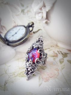 FANTASY RING dragon's breath fire opal ring - fairytales - dragons - epic - romantic - purple - present