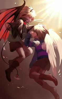 Demon Chara and Angel Frisk Anime Undertale, Undertale Ships, Frisk, Character Art, Character Design, Undertale Pictures, Fanarts Anime, Fan Art, Angels And Demons