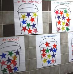I love this idea for the kids coming up with ways to be a bucket filler. I want to make this an interactive window display for our room.
