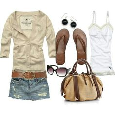 Denim skirt and cardigan