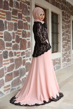 Pink black colors hijab evening dress model pictures and new season te … – Tesettür Islamic Fashion, Muslim Fashion, Modest Fashion, Fashion Dresses, Hijab Evening Dress, Evening Dresses, Prom Dress, Modest Dresses, Stylish Dresses