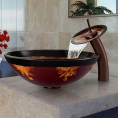 vigo auburnmocha fusion glass vessel sink and waterfall faucet set in oil rubbed bronze by vigo