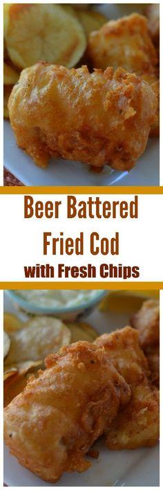 Fish And Chips Batter, Fish Batter Recipe, Beer Battered Cod, Battered And Fried, Battered Chips, Fish Dinner, Seafood Dinner, Cod Recipes, Seafood Recipes
