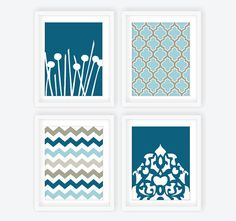 Modern Wall Art Prints in Blueprint Blue and Gray  by twowhiteowls, $52.00