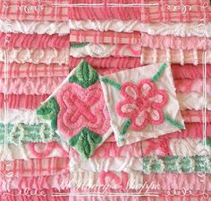 "Chenille fabric quilt squares 42-6"" blocks, bright pink & green, very shabby chic, vintage bedspread fabric by lilhoneysshoppe on Etsy"