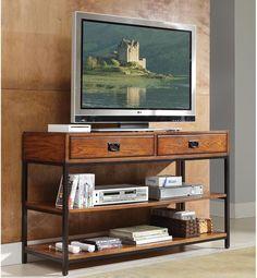 Traditional TV Stand Entertainment Unit Modern Craftsman Distressed Oak Finish #HomeStyles #ModernTraditionalTransitionalUrban #TvStand #Furniture #LivingRoom #Home