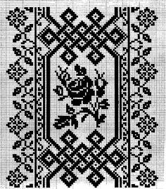 Сокальський взір монохром або з кольором Cross Stitch Borders, Cross Stitch Flowers, Cross Stitch Patterns, Filet Crochet, Crochet Doilies, Pattern Pictures, Canvas Designs, Knitting Charts, Tile Patterns