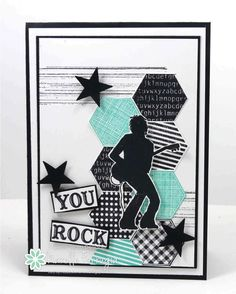 """Freshly Made Sketches #123 Posted on February 12, 2014 by stamplicious   Six Sided Sampler, silhouette image from retired Stampin' Up! Extreme Guitar. Background stamping from Gorgeous Grunge and finished off with some small stars and a """"You Rock"""" sentiment."""