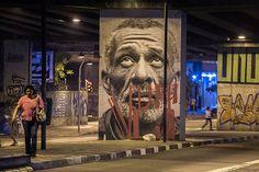 "Street art   Mural hyper-dimensional portraits ""Giganto"" (São Paulo, Brazil) by Raquel Brust"