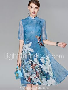 Feminino Chifon balanço Vestido,Festa Para Noite Boho Moda de Rua Floral Colarinho Chinês Médio Meia Manga Seda Poliéster Primavera Verão de 2017 por $21.59