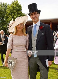 Crown Princess Marie-Chantal of Greece (L) and Crown Prince Pavlos of Greece attend Derby Day at the Investec Derby Festival at Epsom Downs Racecourse on June 2014 in Epsom, England. (Photo by David M. Benett/Getty Images for Investec) Races Fashion, Fashion Outfits, Fashion Hair, Derby Outfits, Ascot Outfits, Kentucky Derby Outfit, Marie Chantal Of Greece, Greek Royalty, Royals
