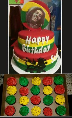 cake of jamaica flag The cake decorated to replicate the