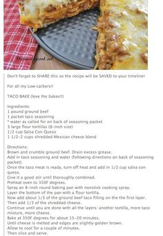 Taco Bake ... So quick and easy!