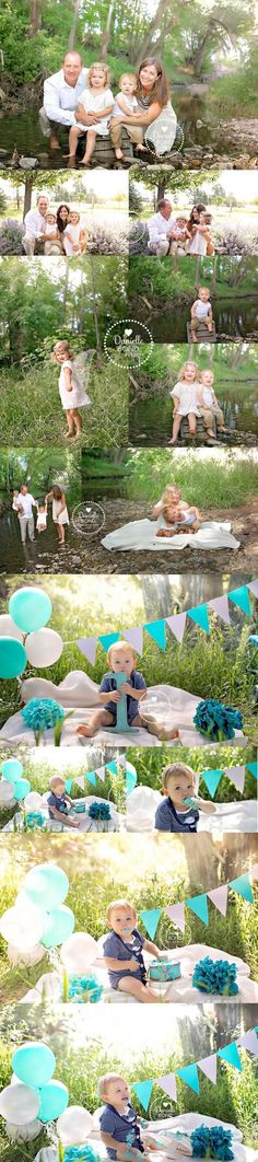creek family session and grey and blue outdoor cake smash