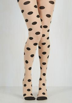 For Funsies Tights - Sheer, Knit, Polka Dots, Novelty Print, Trim, Special Occasion, Party, Work, Casual, Cocktail, Girls Night Out, Holiday, Rockabilly, Pinup, Vintage Inspired, 40s, 50s, 60s, Fall, Winter